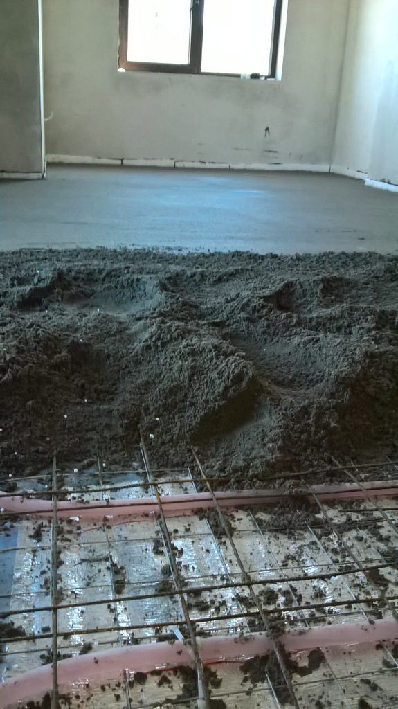instalation xl pipe with cement screed